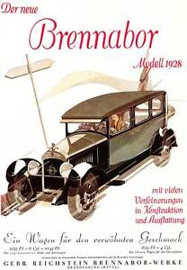 Plakat: BRENNABOR 1928 Oldtimer Auto Kraftwagen Reprint - Spenge, Deutschland - Plakat: BRENNABOR 1928 Oldtimer Auto Kraftwagen Reprint - Spenge, Deutschland
