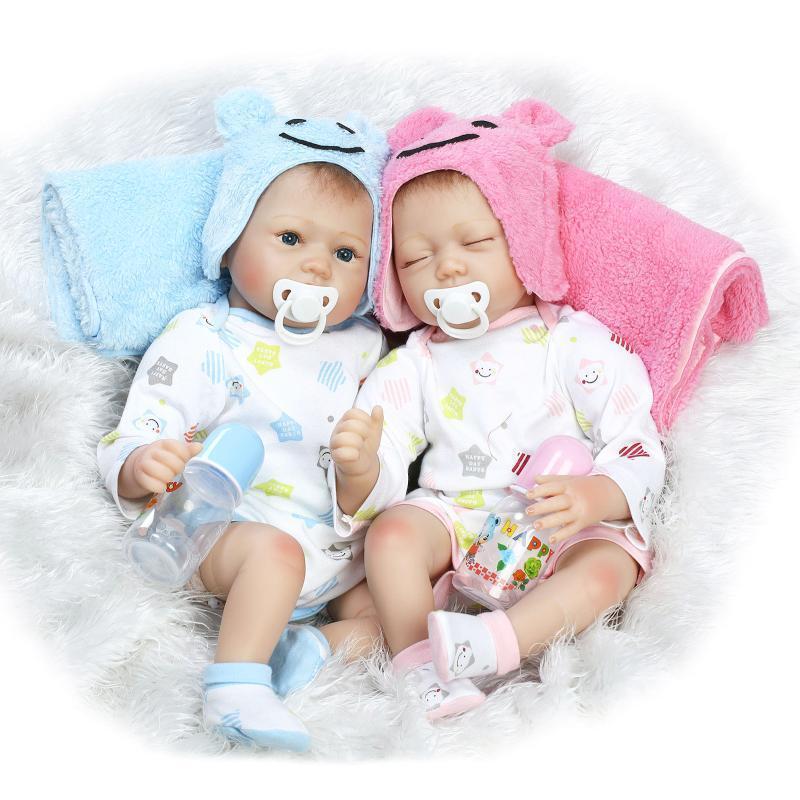 KAWAII 22  RINATO Baby Girl Boy TWINS doll vinile morbido silicone realistica neonato