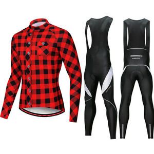 Mens-Cycling-Sets-Long-Sleeve-Bike-Riding-Jersey-Gel-Padded-Bib-Pants-Tight-Kits