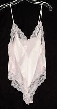 Vintage Ms Leslee Pale Pink Flowered Lace & Nylon Womens Teddy Sz M Made in USA