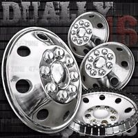 16 Stainless Steel Wheel Covers 8 Lug Hubcap Snap On For Chevy Silverado Dually