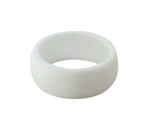 Wedding Band Ring Rubber Solid White /& 2-Lines Silicone Unisex Men Woman UK