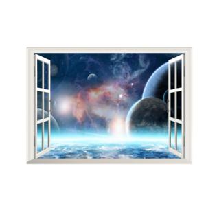 3D-Weltraum-Weltall-Fenster-Wandsticker-Wandtattoo-Wandaufkleber-Aufkleber