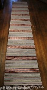 Details About Grand Very Long Handmade Antique Swedish Rag Rug 24x132 Inches 1920s