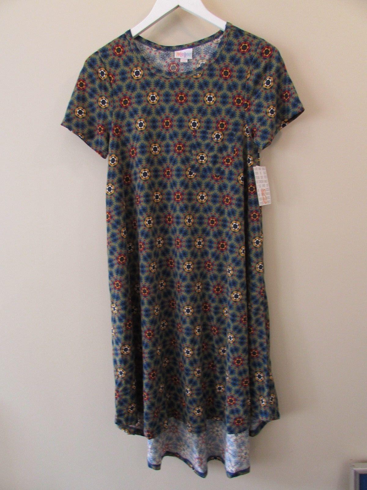 NEW LuLaRoe Size XS Carly Geometric Green bluee Red Yellow Dress NWT
