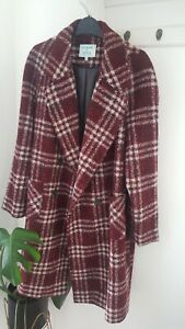 ladies-Dickins-amp-Jones-Double-Breasted-check-Wool-Coat-burgandy-red-Size-18-look