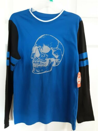 Wonder Nation Boys L//S Graphic T-Shirt Blue//Black W//Gray Skull Size 10//12 BNWT!