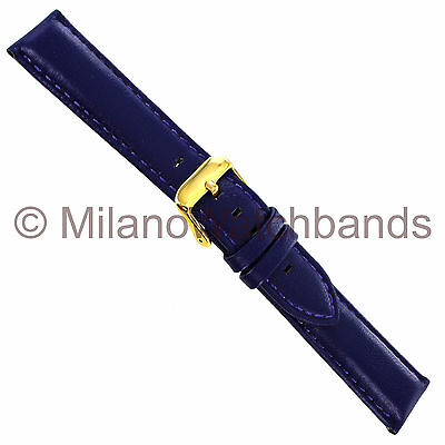 20mm deBeer Blue/Purple Genuine Glove Leather Padded Stitched Mens Watch Band