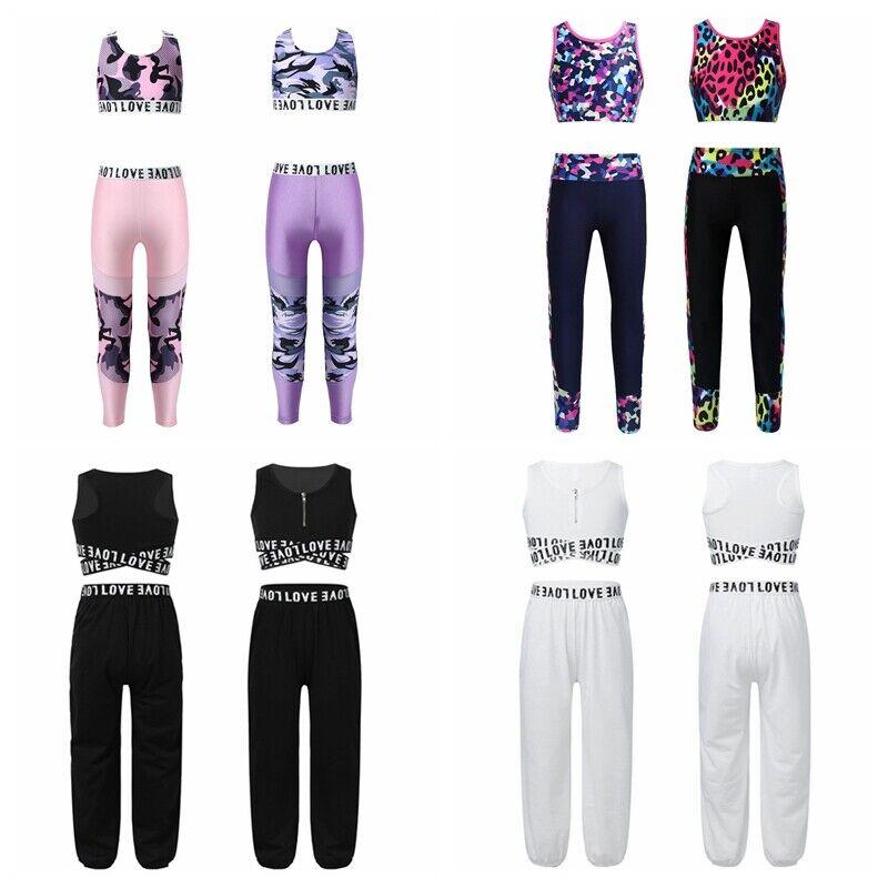Girls Kids Dance Outfit Crop Tops Sports Gymnastics Dancewear Leotard Jumpsuit