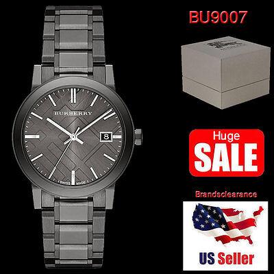 NEW Burberry Mens Watch BU9007 Swiss MADE Gunmetal STEEL Bracelet BOX & WARRANTY