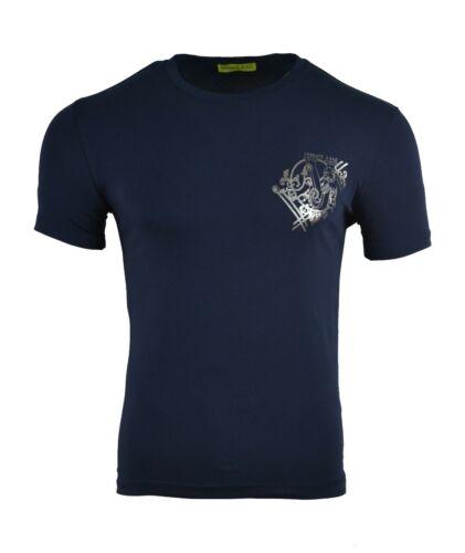 Versace Jeans Camiseta con el logotipo en el Tigre Azul Marino y Plata Hoja de impresión Slim Fit Raro