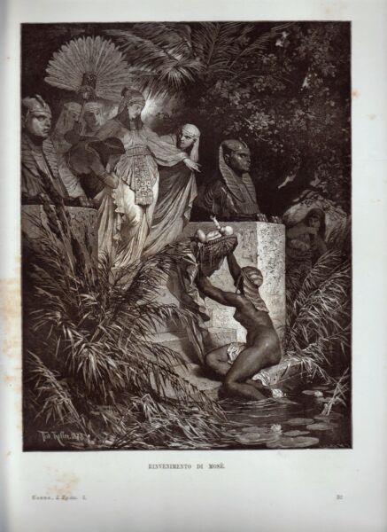 Bibbia Rinvenimento Di Mose' Xilografia 1879 1881 Egitto Antico E Moderno Ebers