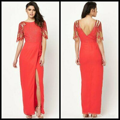 VIRGOS LOUNGE EVENING PARTY COCKTAIL WEDDING MAXI DRESS SIZE UK8//EUR36//US4