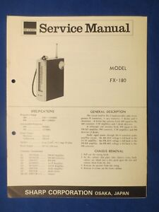 sharp fx 180 radio service manual schematic factory original the rh ebay com Sharp Cell Phones AT&T Model Mobile Phone Sharp AQUOS