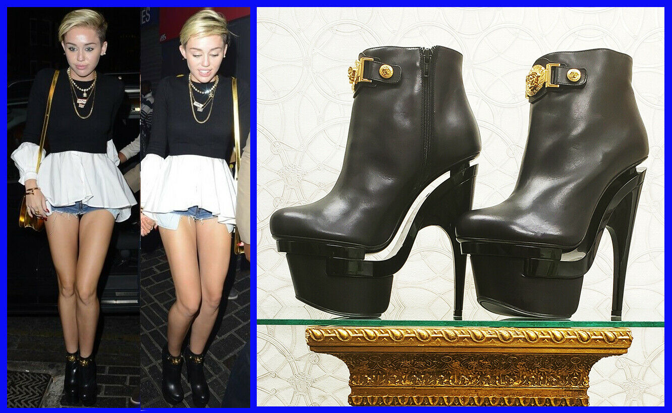 VERSACE TRIPLE PLATFORM BLACK LEATHER BOOTIE BOOTS 41 - 11 as seen on Miley