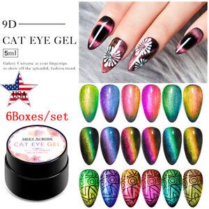 MEET-ACROSS-6Colors-set-9D-Magnetic-Cat-Eye-UV-Gel-Nail-Polish-Soak-off-Varnish