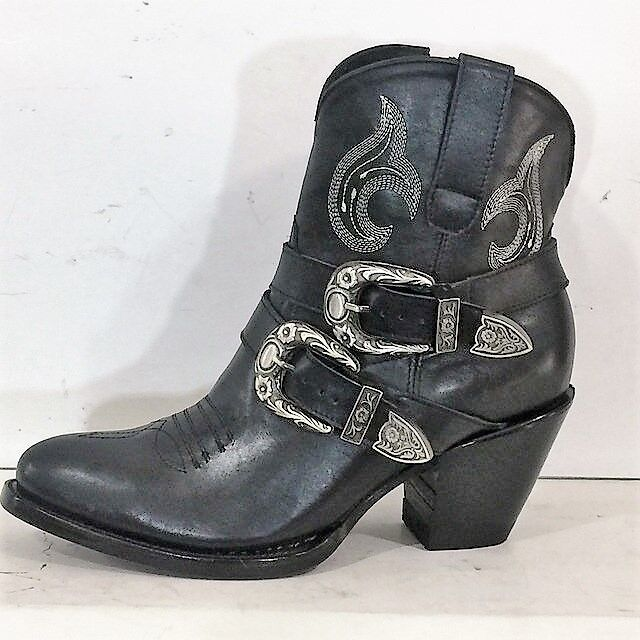Round toe ankle cowboy boots with belt and buckles and zipper made to order Uomo