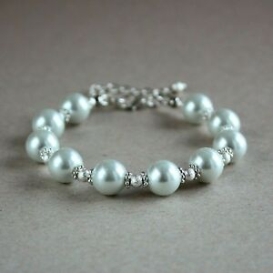 Details About Silver Stardust Large White Pearls Wedding Bridesmaid Bridal Beaded Bracelet