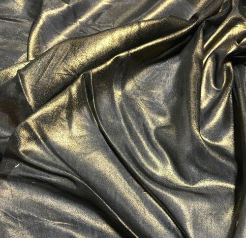 Silk//Cotton Voile Fabric Metallic Gold on Black