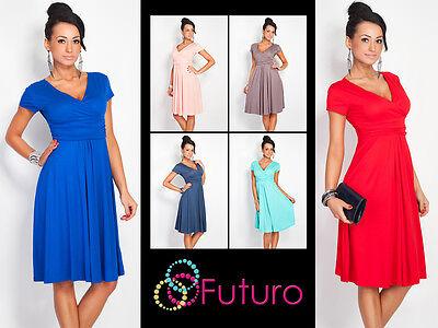 Elegant Womens Dress V Neck Short Sleeve Knee Length Tunic Sizes 8 - 18 8416