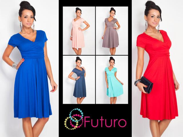 Elegant Womens Dress V Neck Short Sleeve Knee Lenght Tunic Sizes 8 - 18 8416