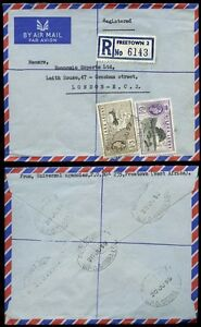 SIERRA LEONE 1959 REGISTERED AIRMAIL 6d + 1/3 franking...6 OVAL CANCELS