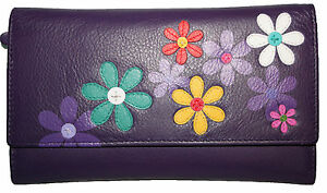 Birdcage Ladies Large Tri Fold Purse NEW Mala Leather Saki Flowers Wallet