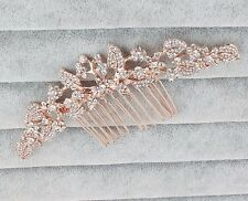Rose Gold Wedding Comb With Crystals Bridal Hair Accessory Jewelry Ornament