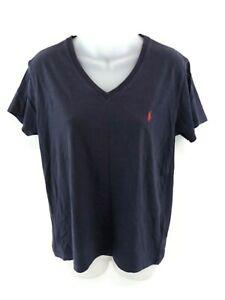 RALPH-LAUREN-Sport-Femme-T-Shirt-Top-L-Large-Coton-Bleu-Marine