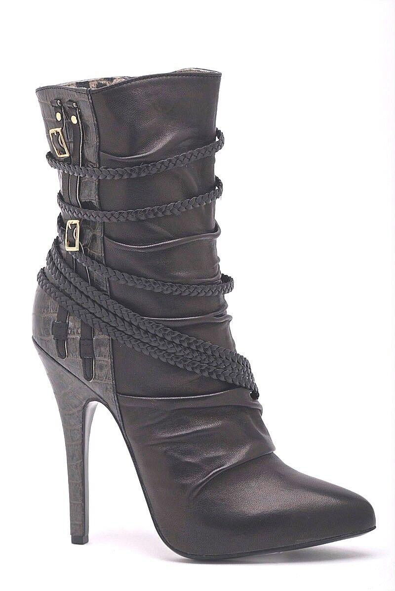 Calzado De Cuero Suave Negro Couture peraseo Grecian Botín Con Con Con Ribete De Cocodrilo  en linea