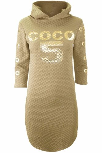 Ladies Womens Curved Hem Gold Foil Coco 5 Quilted Hooded Hoodie Mini Shirt Dress