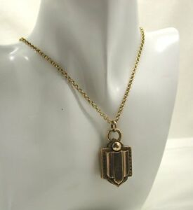 Victorian-C-1880-039-s-Unusual-Style-Gold-back-And-Front-Locket-And-Chain