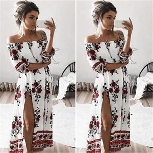 ac4ef16fd1 Image is loading Sizes-Women-Summer-Boho-Floral-Beach-Dress-Evening-