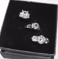 Brand Qvc Set Of 3 Rings Fancy Brilliant Cut Size 7 Simulated Stones