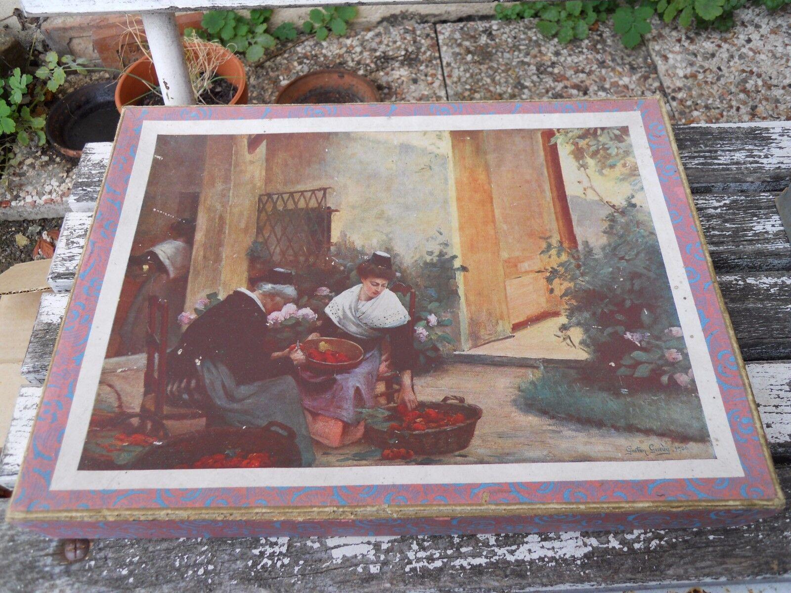 Boite de 3 Puzzles anciens décor tableaux 1900