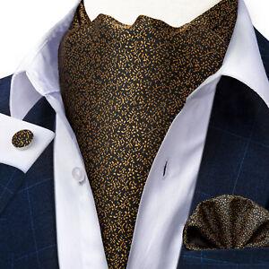 Mens Silk Cravat Ascot Yellow Gold Novelty Tie Pocket Square Cufflinks Set