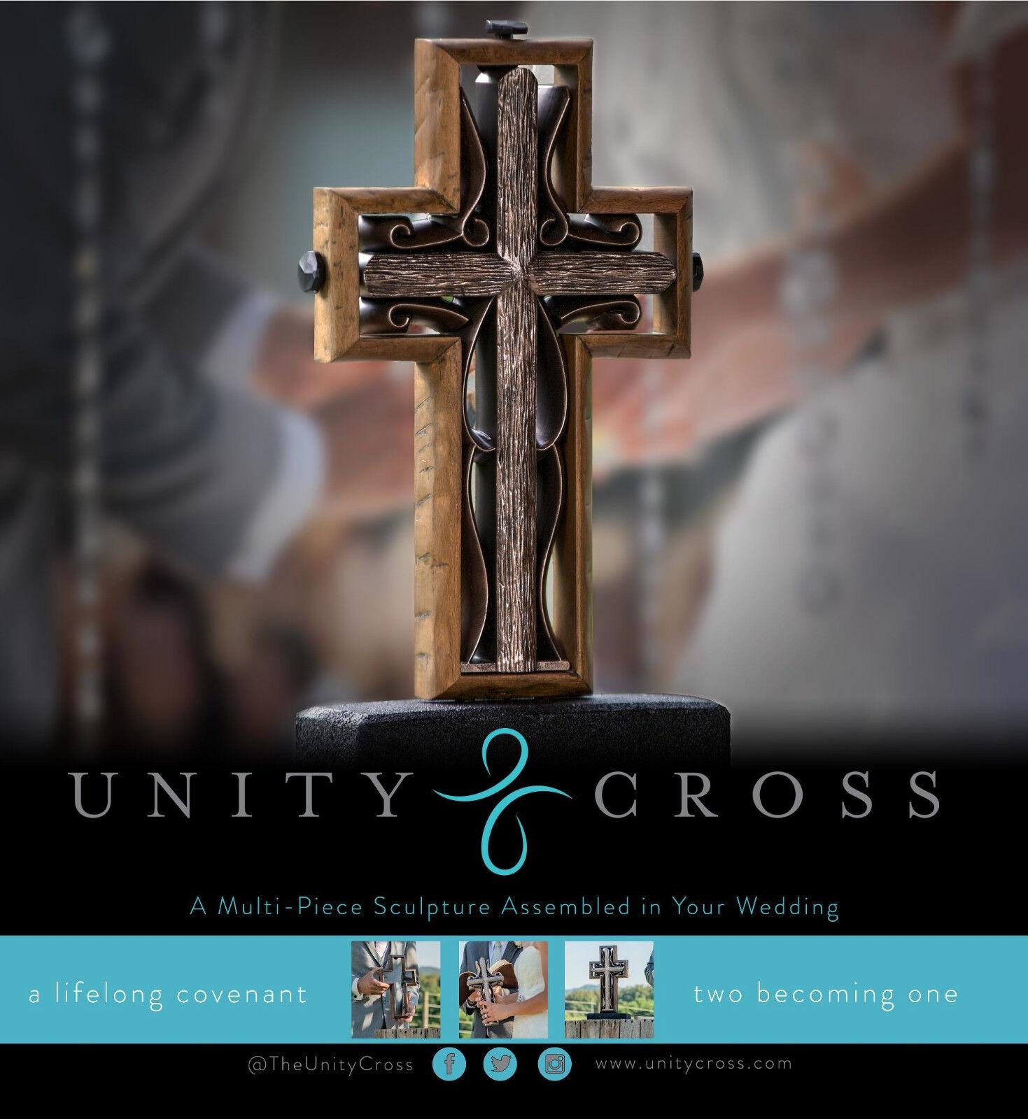 L'unité Cross Marron Rustique En Bois Mariage Cross NEW IN BOX