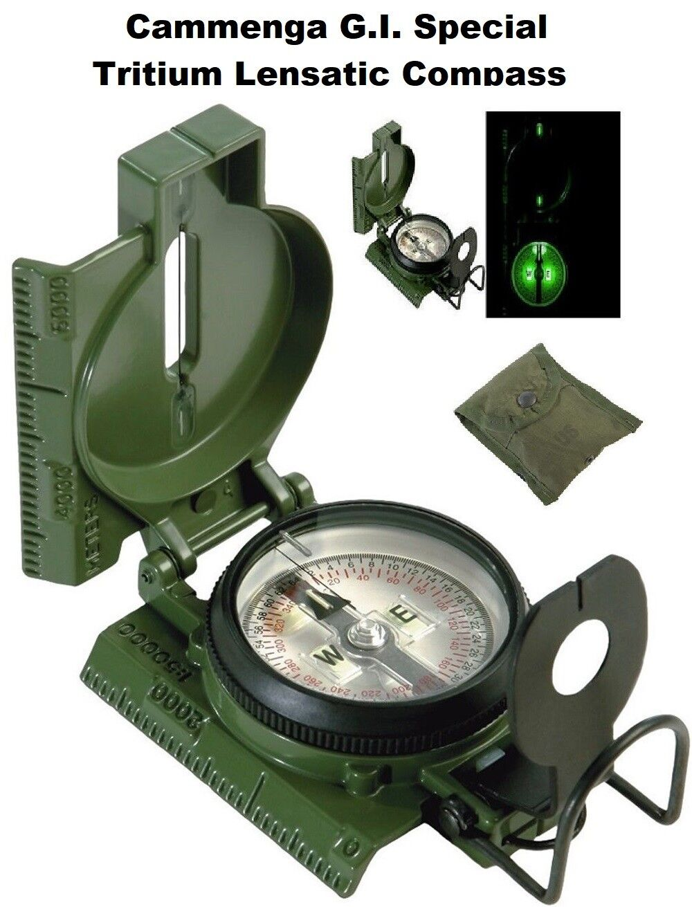 Army Olive Drab GI Military Special Tritium Lensatic Compass w  Pouch 917 redhco
