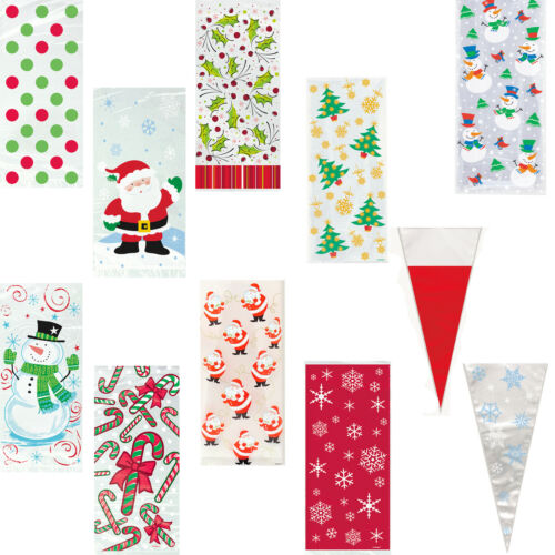 Christmas Party Treat Cello Favour Sweet Cone Bags Holly Santa Tree Snowman