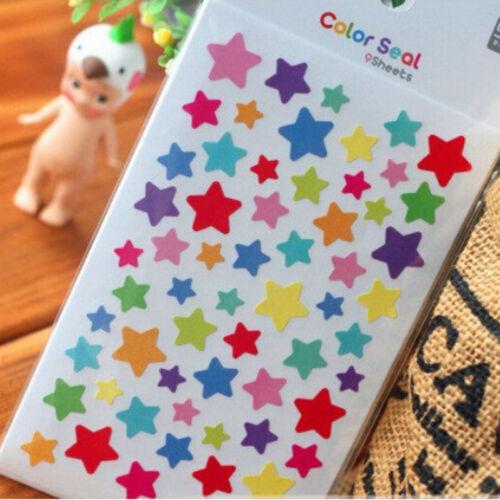 12 Hojas Arco Iris Corazón Adhesivo Decoración del diario Planificador Diario Scrapbook ablums Pop