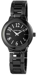 Excellanc-Damenuhr-Schwarz-Analog-Metall-Quarz-Armbanduhr-X1800167003