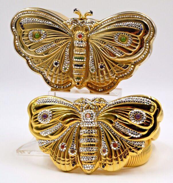 Judith Leiber BUTTERFLY Bag + Belt Gold Tone Plate Crystals Vintage Gems