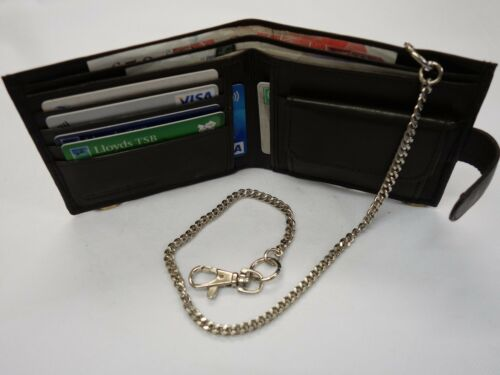 Digitale Soft Leather Wallet with Security Chain RFID Proof Brown