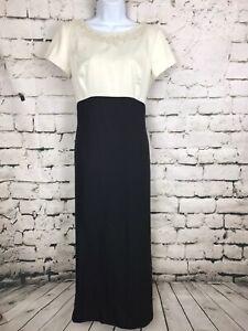 Vintage-Liz-Claiborne-Nights-Formal-1990-039-s-Two-toned-Black-amp-White-Dress-Sz-10
