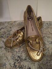 Michael Kors Blair Moccasin Loafer Boatshoes Comfort Leather Flat Gold 7.5 M New