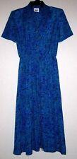 LESLIE FAY DRESSES Vtg Blue Secretary Career Pinup Rockabilly Elastic Waist 10