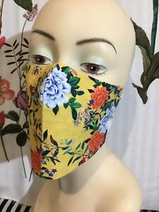 FACE MASK SHIELD FLORAL Washable Fashion Designer 100% Cotton French Fabric