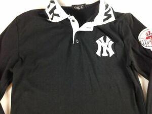 New York Yankees Shirt Long Sleeve Polo Shirt Fits Womens Small VTG Patch Collar