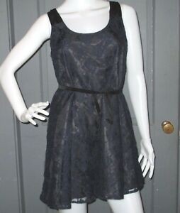 Details About Forever 21 Juniors Gorgeous Boho Navy Blue Black Lace Swing Dress S Roses Euc