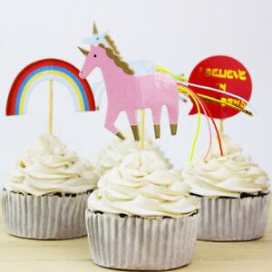 24x-Unicorn-Party-Cupcake-Topper-Cake-Picks-Birthday-Party-Baby-Shower-Decor-YJ